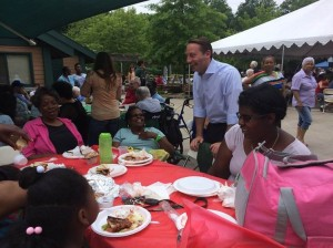 Robert Astorino, Westchester County Executive at Senior Citizens Pool Party and Barbecue at Saxon Woods Pool in White Plains. Photo Courtesy of: Westchester County Executive's office